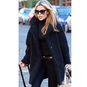 NWT H&M Teddy Coat Black Mid Length Faux Fur